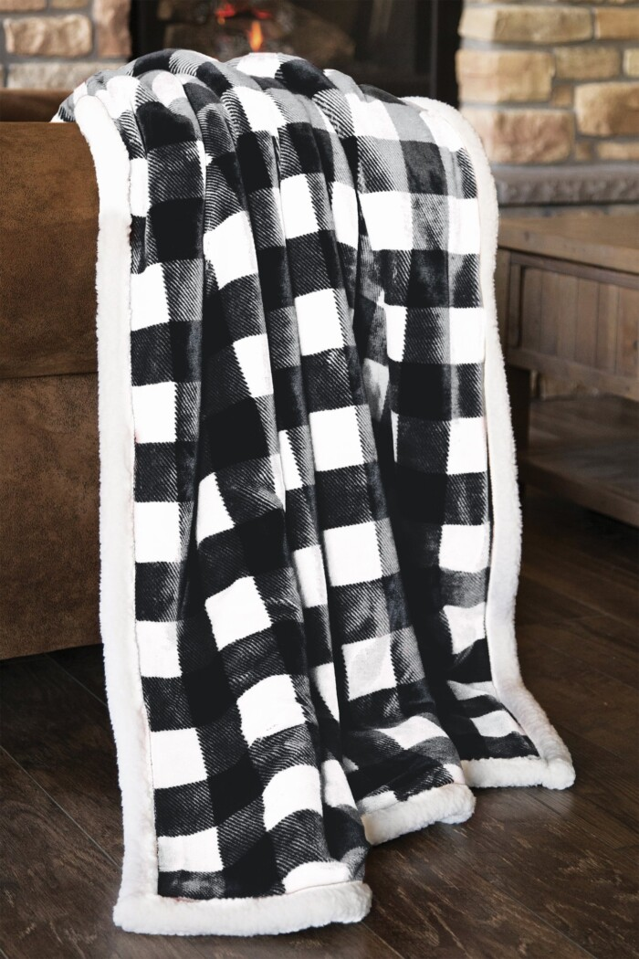 Black and White Sherpa Throw
