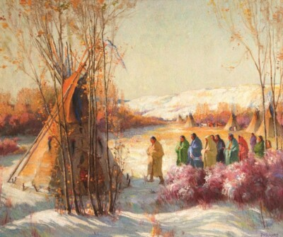 Upcoming Highlight - Joseph Henry Sharp, Call of the War Chief, oil on canvas, 30 x 36 inches